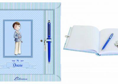 Pack Diario y Boligrafo Mod. 841 15,5x20 cm Boligrafo Touch, Encuadernación de Lujo, 160 páginas, Cierre y candado con llave