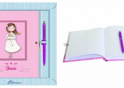 Pack Diario y Boligrafo Mod. 842 15,5x20 cm Boligrafo Touch, Encuadernación de Lujo, 160 páginas, Cierre y candado con llave