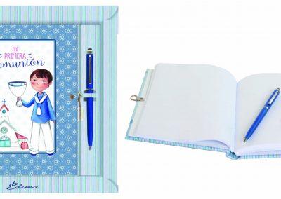 Pack Diario y Boligrafo Mod. 843 15,5x20 cm Boligrafo Touch, Encuadernación de Lujo, 160 páginas, Cierre y candado con llave