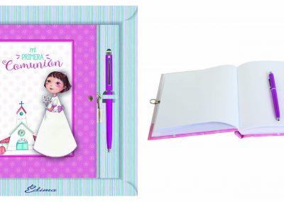 Pack Diario y Boligrafo Mod. 844 15,5x20 cm Boligrafo Touch, Encuadernación de Lujo, 160 páginas, Cierre y candado con llave