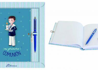 Pack Diario y Boligrafo Mod. 847 15,5x20 cm Boligrafo Touch, Encuadernación de Lujo, 160 páginas, Cierre y candado con llave