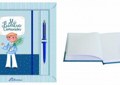 Pack Diario y Boligrafo Mod. 855 15,5x20 cm Boligrafo Touch, Encuadernación de Lujo, 160 páginas, Cierre y candado con llave