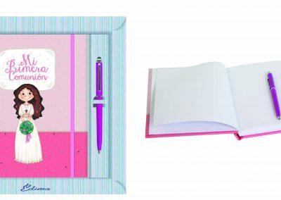 Pack Diario y Boligrafo Mod. 856 15,5x20 cm Boligrafo Touch, Encuadernación de Lujo, 160 páginas, Cierre y candado con llave