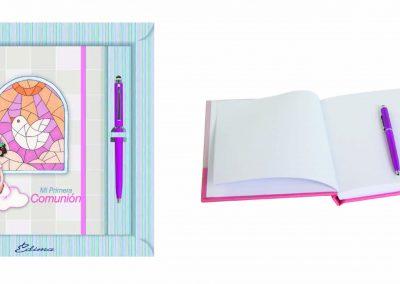 Pack Diario y Boligrafo Mod. 858 15,5x20 cm Boligrafo Touch, Encuadernación de Lujo, 160 páginas, Cierre y candado con llave